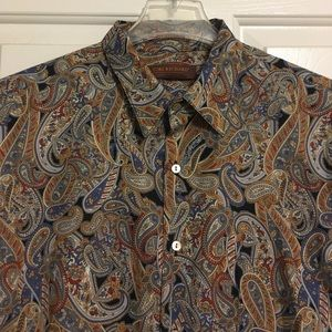 Tori Richard Mens Paisley S/S Button Up Shirt Sz L